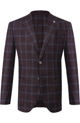 Однобортный пиджак в клетку из смеси шерсти и шелка с кашемиром L.B.M. 1911 бордовый | Фото №1