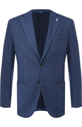 Однобортный пиджак в клетку из смеси кашемира и шелка с шерстью L.B.M. 1911 синий | Фото №1
