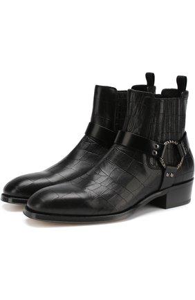 Кожаные ботинки с декоративными ремешками | Фото №1