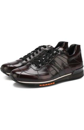 Кожаные кроссовки на шнуровке A. Testoni бордовые | Фото №1