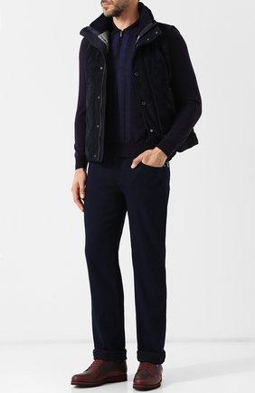 Поло с длинными рукавами из смеси кашемира и шелка Zilli темно-фиолетовое | Фото №1