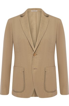 Однобортный пиджак из смеси льна и хлопка   Фото №1