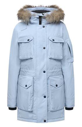 Женская парка с накладными карманами и меховой отделкой ARCTIC EXPLORER голубого цвета, арт. UMI_SKY | Фото 1