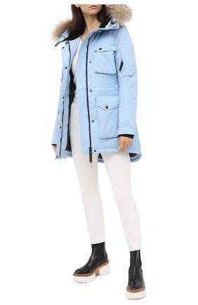Парка с накладными карманами и меховой отделкой Arctic Explorer голубая | Фото №1