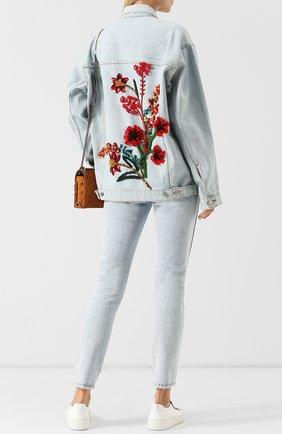 Джинсовая куртка с декоративной отделкой на спине Dalood голубая   Фото №1