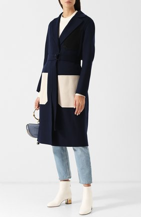Пальто из смеси шерсти и кашемира с поясом и накладными карманами Joseph темно-синего цвета | Фото №1