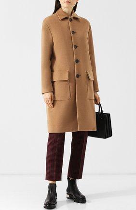 Шерстяное пальто прямого кроя с накладными карманами Dsquared2 темно-бежевого цвета | Фото №1