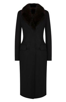 Приталенное кашемировое пальто с меховым воротником | Фото №1