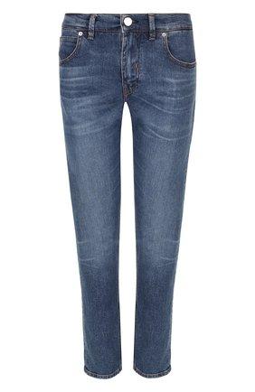 Укороченные джинсы с потертостями Two Women In The World синие | Фото №1