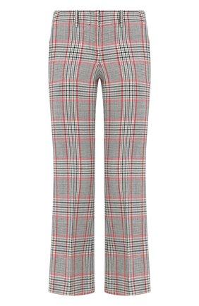 Укороченные расклешенные брюки из шерсти Michael Kors Collection разноцветные | Фото №1