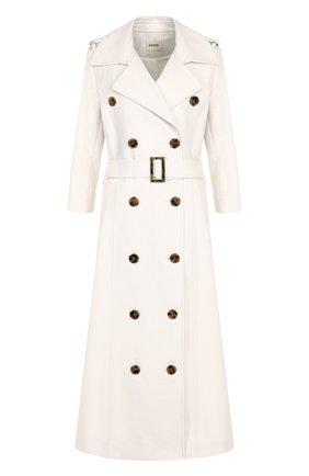 Двубортное хлопковое пальто с укороченным рукавом и поясом | Фото №1