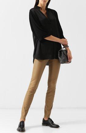 Однотонные кожаные брюки By Malene Birger бежевые   Фото №1