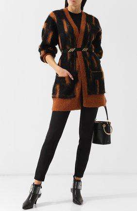 Кардиган с накладными карманами и контрастным поясом By Malene Birger разноцветный   Фото №1