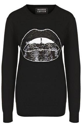 Шерстяной пуловер с круглым вырезом и декоративной отделкой Markus Lupfer черный | Фото №1