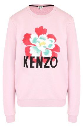 Хлопковый пуловер с круглым вырезом и логотипом бренда Kenzo розовый | Фото №1