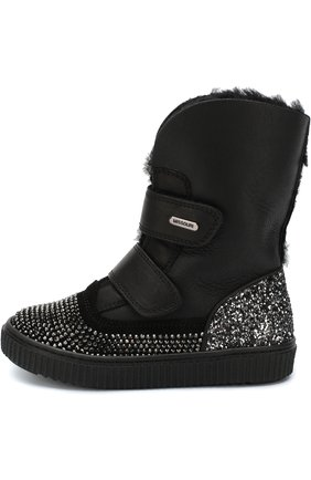 Детские кожаные ботинки со стразами и застежками велькро Missouri черного цвета | Фото №1