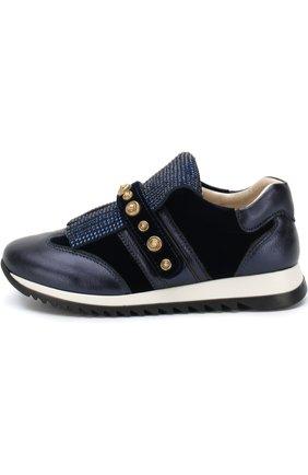 Детские кожаные кроссовки с бахромой и декоративной застежкой велькро Missouri синего цвета | Фото №1