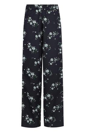 Брюки свободного кроя с эластичным поясом и принтом Kenzo темно-синие | Фото №1