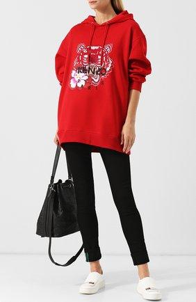 Хлопковый пуловер свободного кроя с капюшоном Kenzo красный | Фото №1