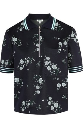 Поло с накладным карманом и принтом Kenzo темно-синее | Фото №1