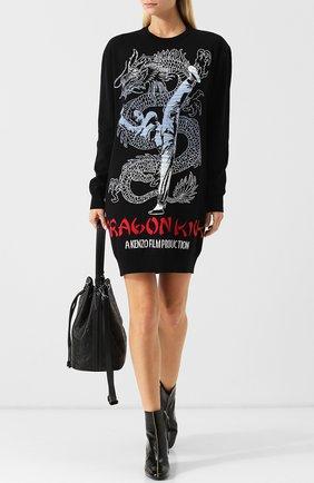 Мини-платье из смеси хлопка и шерсти с декоративной вышивкой Kenzo черно-белое | Фото №1