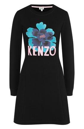 Хлопковое мини-платье с круглым вырезом и логотипом бренда Kenzo черное | Фото №1