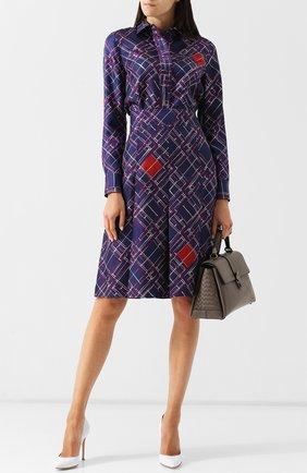 Шелковая юбка с принтом Bottega Veneta сиреневая | Фото №1