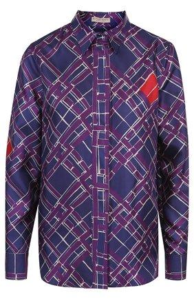 Женская шелковая блуза с принтом Bottega Veneta, цвет сиреневый, арт. 521927/VERH0 в ЦУМ | Фото №1