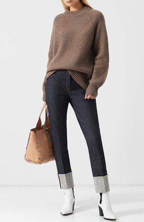 Кашемировый пуловер свободного кроя The Row темно-бежевый | Фото №1
