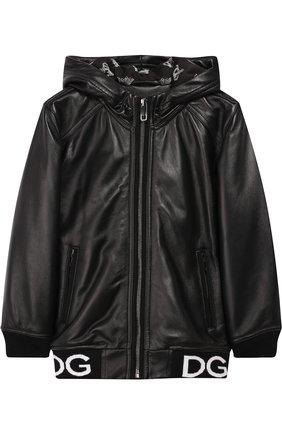 Кожаная куртка на молнии с капюшоном | Фото №1