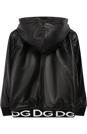 Кожаная куртка на молнии с капюшоном | Фото №2