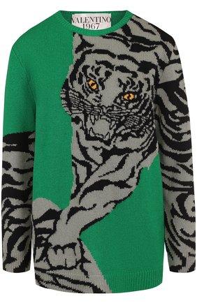 Кашемировый пуловер с круглым вырезом и принтом Valentino зеленый | Фото №1