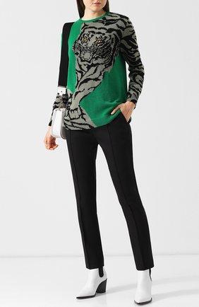 Кашемировый пуловер с круглым вырезом и принтом Valentino зеленый | Фото №2