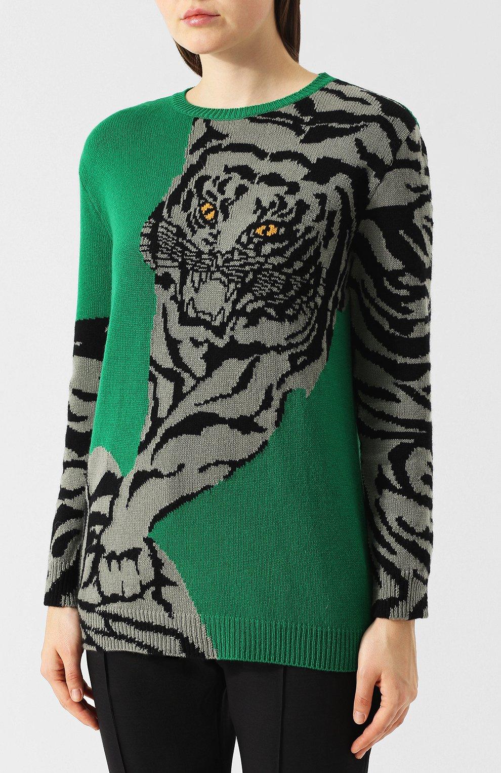 Кашемировый пуловер с круглым вырезом и принтом Valentino зеленый | Фото №3