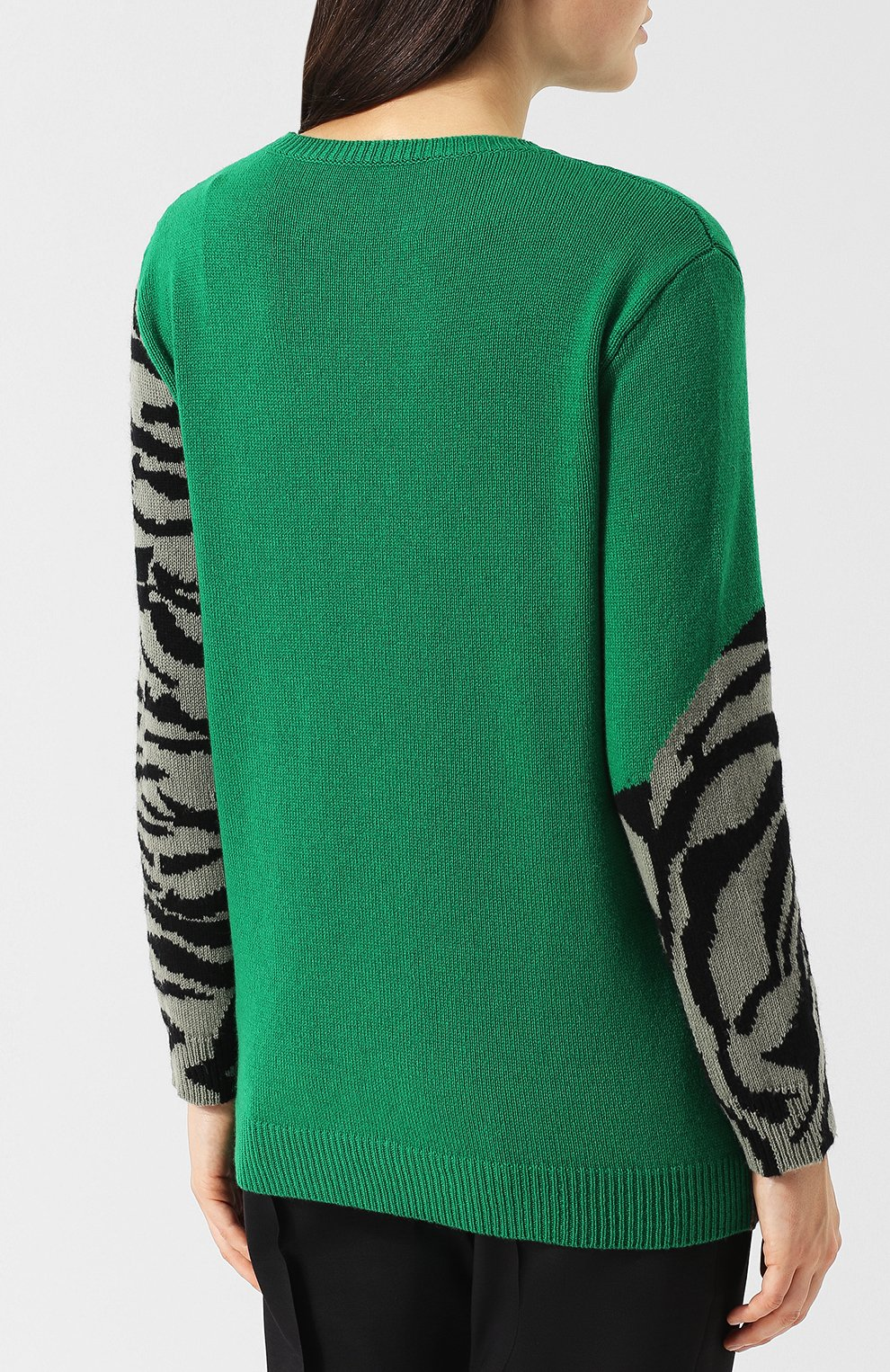 Кашемировый пуловер с круглым вырезом и принтом Valentino зеленый | Фото №4