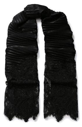 Плиссированный шарф с кружевной вставкой | Фото №1