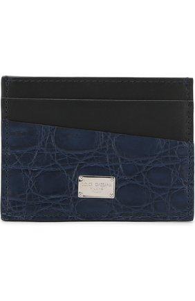Мужской футляр для кредитных карт с отделкой из кожи каймана DOLCE & GABBANA синего цвета, арт. BP0330/A2Q71/CYAC | Фото 1