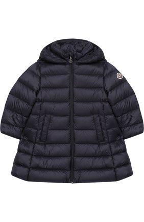 Детского стеганое пальто на молнии с капюшоном MONCLER ENFANT темно-синего цвета, арт. D2-951-49372-05-53048 | Фото 1