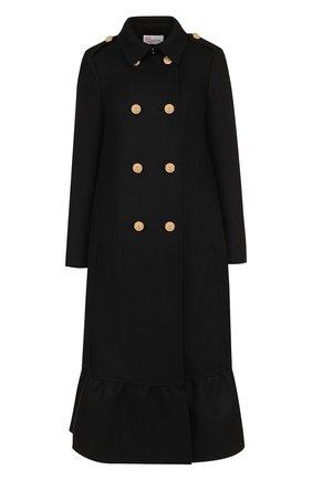 Двубортное шерстяное пальто с оборкой REDVALENTINO черного цвета | Фото №1