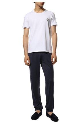Хлопковая футболка с круглым вырезом и декоративной вышивкой | Фото №2