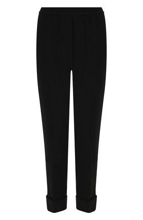 Укороченные брюки со стрелками и отворотами Bottega Veneta черные | Фото №1