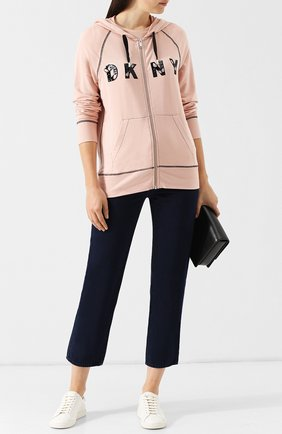 Кардиган на молнии с капюшоном и логотипом бренда DKNY розовый | Фото №1