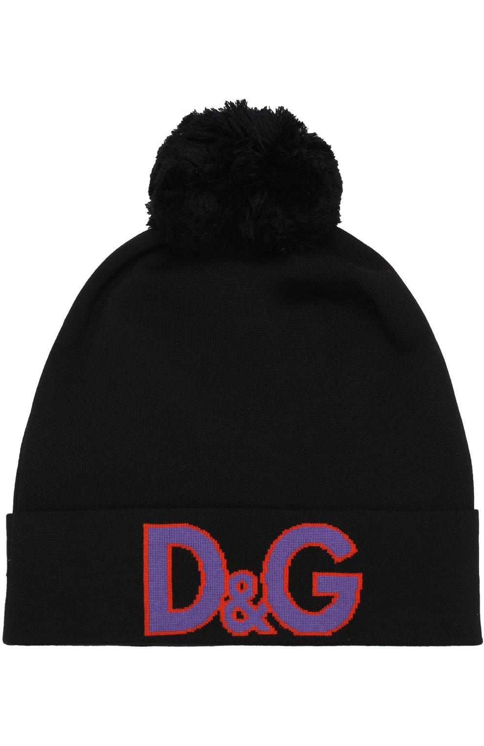 Шерстяная шапка с помпоном Dolce & Gabbana черного цвета | Фото №2