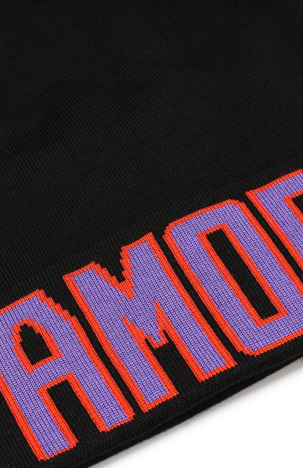 Шерстяная шапка с помпоном Dolce & Gabbana черного цвета | Фото №3