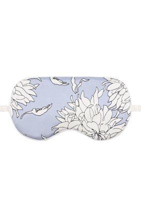 Шелковая повязка для сна с принтом Olivia Von Halle голубого цвета | Фото №1