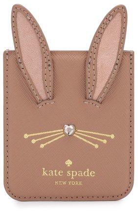 Мужского накладной кожаный футляр на iphone с аппликацией KATE SPADE NEW YORK коричневого цвета, арт. 8ARU2654 | Фото 1