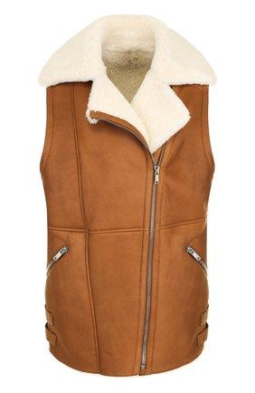Кожаный жилет на меховой подкладке   Фото №1