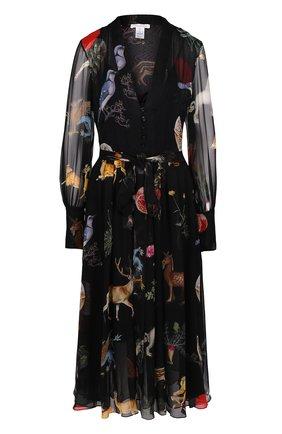 Шелковое платье-миди с V-образным вырезом и принтом Oscar de la Renta черное | Фото №1