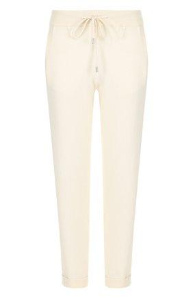 Кашемировые брюки с отворотами и эластичным поясом Colombo белые | Фото №1