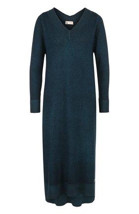 Вязаное платье-миди из смеси кашемира и шелка Colombo темно-зеленое | Фото №1